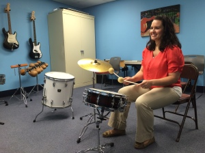 Laura DeGennaro demonstrates a music therapy session.